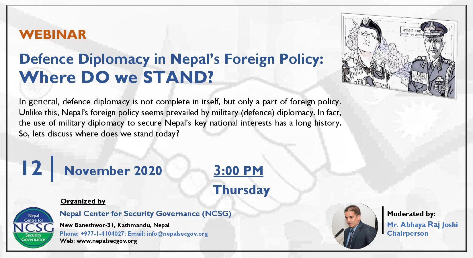 """WEBINAR on """"Defense Diplomacy in Nepal's Foreign Policy: Where DO we STAND?"""""""