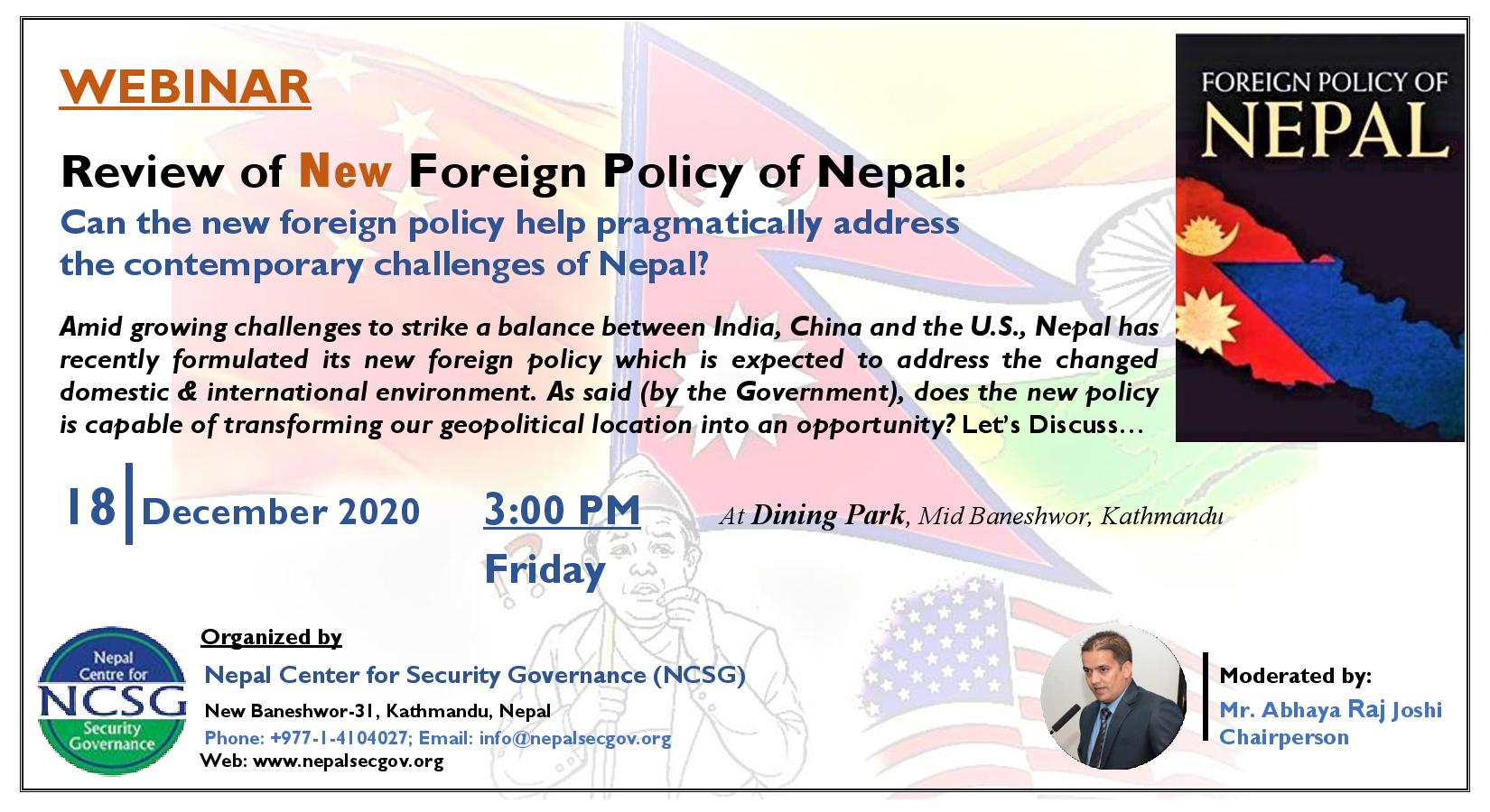 Review of Nepal's New Foreign Policy